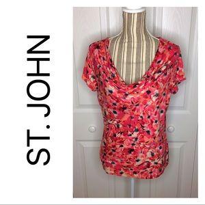 St John pink floral cowl neck blouse